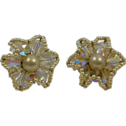 Vendome Wire Wrapped Crystal and Faux Pearl Clip Earring Pair