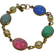 Multi-Color Stone and Gold-Toned Scarab Bracelet