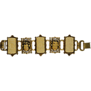 Gold Tone and Carved Faux Bone Asian Inspired Bracelet
