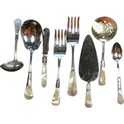 Sterling Silver and Mother of Pearl 8 piece Serving Set