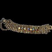 Unsigned Gold Tone and Multi-Color Rhinestone Sparkle Bracelet