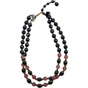Two Strand Black and Pink Western Germany Glass Necklace
