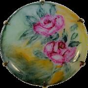 Victorian Porcelain Flower Bouquet Circle Brooch