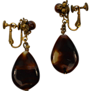Miriam Haskell Brown Glass and Gold Metal Screw Back Earrings