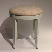 SALE Vintage Painted Stool with Toile Covered Seat