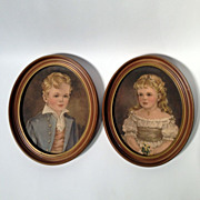 REDUCED Small Oval Framed Prints of Children Robert and Marian