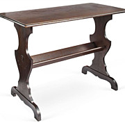 SALE Early 1900s Walnut Trestle Table with Lower Shelf