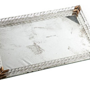 SALE Vintage Mirror Tray with Twisted Glass Columns & Brass Accents
