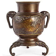Bronze Urn with Asian Motif Signed