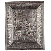 REDUCED French Hammered Tin Bas-Relief Wall Plaque France