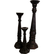 Set of 3 Primitive Wooden Candlesticks