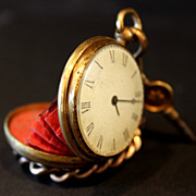 A Rare French Antique Miniature Pocket Watch Purse