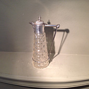 19th cent. British sterling and glass claret jug