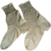 SALE Early 20c.Delicate Silk Knitted Lace Sock Pair