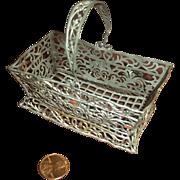 Late 19c. Basket for French Fashion, Metal Filigree