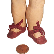 c.1900 Red Leather Tiny German Doll Shoes
