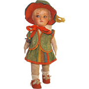 1920s Compo Head/Cloth Body Doll In Great Outfit