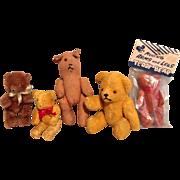 SALE 5 Vintage Miniature Teddy Bears for Your Dolls