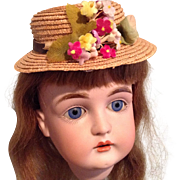 Sweet Vintage Straw Hat for Your Cabinet Size Doll