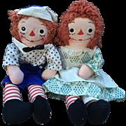 "Georgene Raggedy Ann and Andy Dolls Clean! 16"""