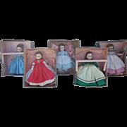 Madame Alexander Lissy Little Women Set of 5 Dolls All Original, Some Boxes