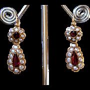 Fabulous Antique Georgian 18 K Gold Demi Pearls and Garnets Day to Night Dangling Earrings