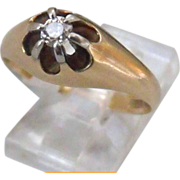 REDUCED Antique Victorian 14k gold Hallmarked solitaire Old Mine Cut Diamond Engagement ring