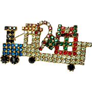 Vintage Christmas Rhinestone Train Locomotive Brooch Pin Candy Cane Gifts~ COLLECTORS PIECE
