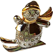 Vintage Swarovski Rhinestone Snowman on Skis Brooch Signed ROMA~ Christmas Silver, Gold, Pave