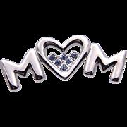 Vintage Silver~Plated Blue Rhinestone MOM Heart Brooch Never worn NEW