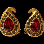 SALE Vintage Napier Earrings Ruby Red Pear Gold~Plate Swarovski Rhinestone Clips GORGEOUS !