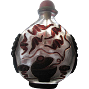 """Large, 4.5"""" 19th Century Chinese Overlay Glass Snuff Bottle"""