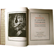 The Manual of Linotype Typography, 1923, First Edition