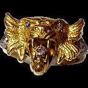 SALE 18K Antique Fox Lion Head Ring Old European Diamonds 6 3/4