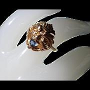 SALE 14K Nouveau Lion Head Ring Blue Topaz Eyes 3.5