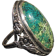 SALE Art Nouveau Large Turquoise Ring in Sterling Silver