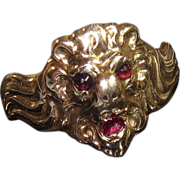 SALE 9K Art Nouveau Lions Head Ring with Garnet Eyes Ruby Mouth