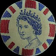 Vintage Queen Elizabeth the Second Fabric Button