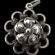 Vintage Silver Chrysophase Pendant