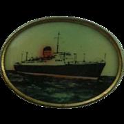 SALE Vintage Lithograph Ship Button