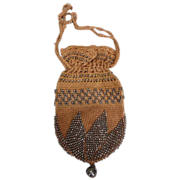 Beige crocheted and Cut Steel Victorian Purse