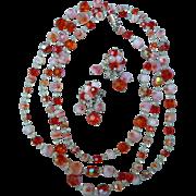 SALE Beautiful Iridescent Orange Vendome Necklace and Earring Set