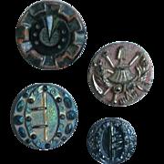 Four Vintage Black Glass Buttons