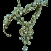 SALE Juliana necklace and bracelet Pearl and Rhinestone set