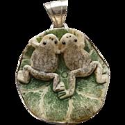Vintage Sterling and Ceramic Frog Pendant/Necklace