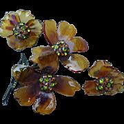 Fantastic Vendome Resin and Rhinestone Pin and Earrings