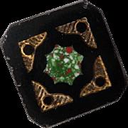 Black glass design centered Vintage Button
