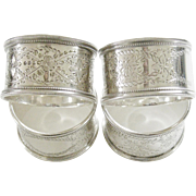 Antique Victorian Sterling Silver Napkin Rings Set of 4 Brittish English London George Adams
