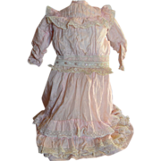 Beautiful antique french pink silk dress for doll