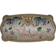 SOLD 1890 antique silk box hand painted, mark ORIZA LEGRAND PARIS